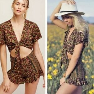 Free People Surf Date Green Floral Romper Size 6